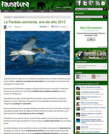 05 Febrero 2013 · 5th February 2013 El blog FAUNATURA ha publicado una de mis imágenes de Pardela Cenicienta (Calonectris diomedea), encantado de colaborar con ellos! Podéis ver una captura de pantalla más abajo o visitar la web en http://www.faunatura.com/pardela-cenicienta-ave-ano-2013.html  FAUNATURA blog posted one of my images from Cory´s Shearwater (Calonectris diomedea), pleased to collaborate with them! You can see a screenshot below or visit the website at http://www.faunatura.com/pardela-cenicienta-ave-ano-2013.html