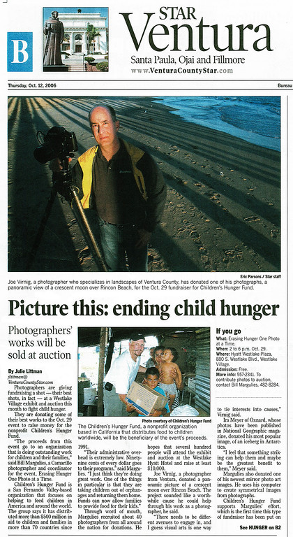 "<div class=""vcv_journal"">      <p>Fellow photographer, Bill Margulies, asked me to donate a photo for an upcoming auction at the Westlake Hyatt to raise money to fight child hunger. Even though I was only one of many photographers, I was lucky enough to be featured in the Ventura County Star and have my photograph taken in the shadow of one of my favorite subjects, the Ventura Pier. More importantly, the auction raised a significant amount of money for a worthwhile cause.   It was also there that I met Bob Litvak who owns the Holistic Pharmacy in Santa Monica. He bid on my photo but someone else outbid him. Nonetheless, a few days later he bought one to hang in his store. Pretty fortunate for me since that led to...      </p></div>"