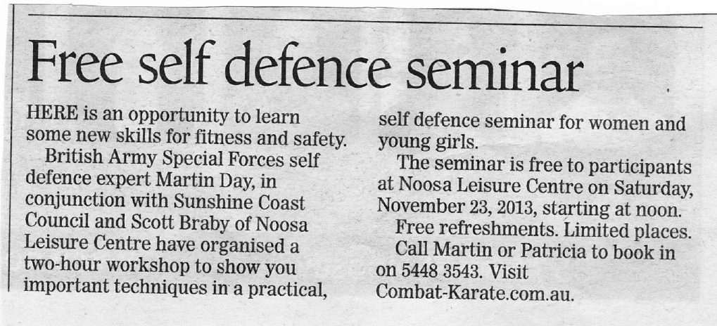 Free Women's Self Defence in Noosa