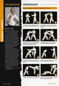 """Blitz Martial Arts Magazine Technique Workshop - Shihan Martin Day 6th Dan demonstrating Self Defence against a straight left-right punch combo against the attacker Sensei David Rowe 1st Dan Combat Karate."""