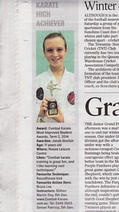 Jacob Wins Combat Karate Training in Noosa Award