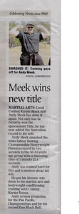 Andy Meek 1st Combat Karate & Elite Self Defence Dan Black Belt Wins Australian Title