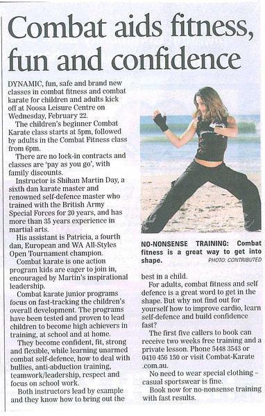 New Combat Fitness & Self Defence & Combat Karate Kids Beginners Classes - Noosa News - February 2012