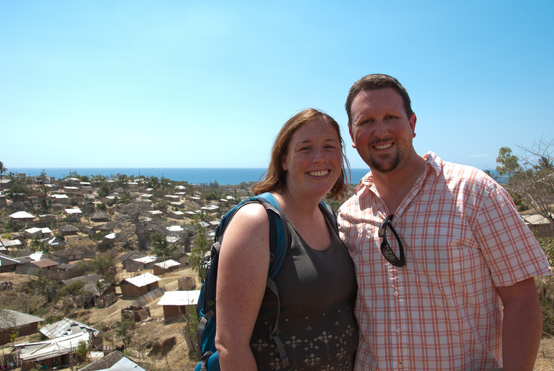 """<span id=""""title"""">Pemba Overlook</span> Do we look tired? I compared this photo to the one at the beginning of the gallery, and it's clear the tropical sun was taking a toll. We survived. This was taken at a particularly good view along the main road that leads to downtown Pemba."""