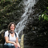 Sharon by a waterfall on La Finca Esperanza, very pretty amongst the forest