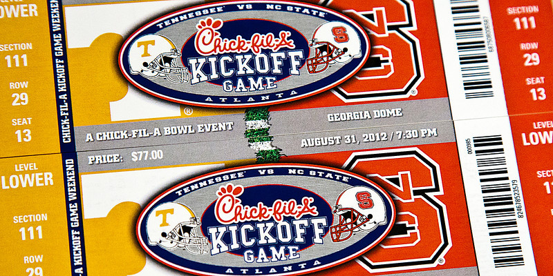 196/365 - July 19, 2012 - Kickoff Tickets <br /> <br /> Our UT vs. NC State tickets came in the mail today.  With no other motivation in sight, my photo is of the tickets.  I sure hope my first trip to the Georgia Dome isn't disappointing.