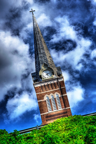 132/365 - May 16, 2012 - Immaculate Conception Church <br /> <br /> This afternoon on the way home, I made a quick detour downtown to get my shot of the day.  I ended up in the old warehouse district and captured this shot looking up at the Immaculate Conception Church steeple up the hill from the street below.