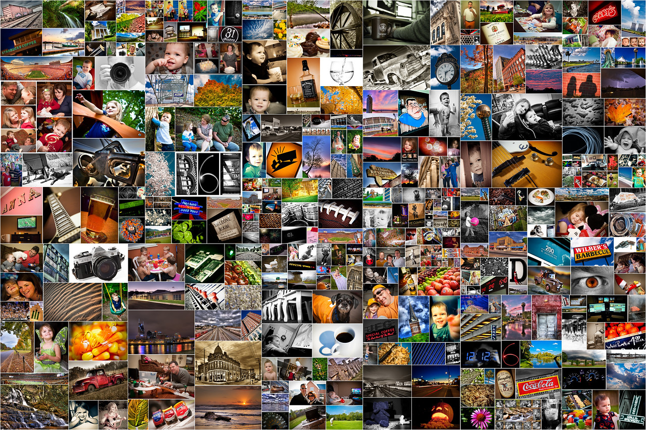 366/365 - January 5, 2013 - Project 365 <br /> <br /> Instead of taking a random shot for the official final day of the project, I decided to create a collage of all the shots taken throughout.  Thanks to Picasa for making this so easy.