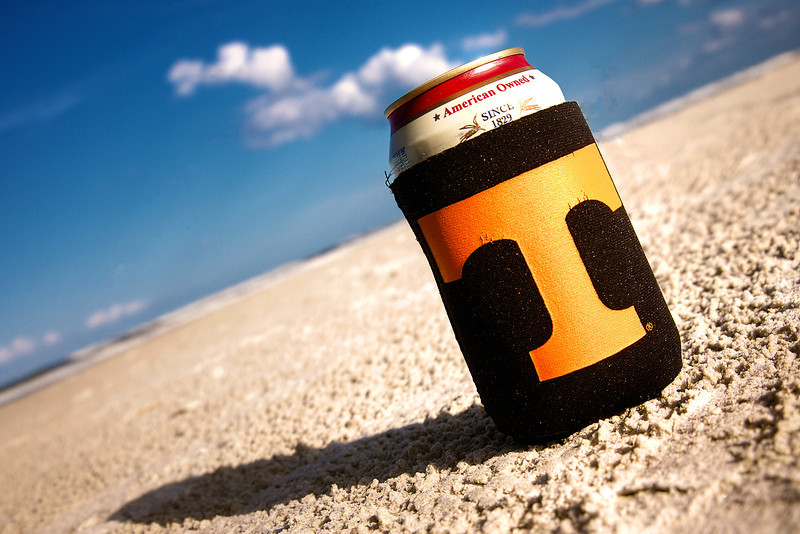 250/365 - September 11, 2012 - Power Sand <br /> <br /> This evening while enjoying some alone time on the beach while Lisa and the kids were in the room, I captured a shot of my trusty Tennessee coozie resting peacefully in the sand doing its job.  Nothing like relaxing in a beach chair listening to the crashing waves with a favorite cold adult beverage to provide complete relaxation.  Too bad these moments are few and far between...