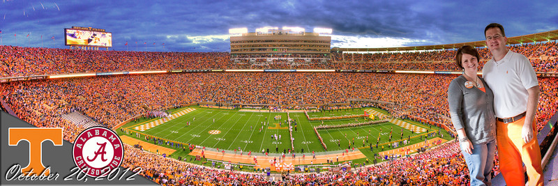 289/365 - October 20, 2012 - Third Saturday in October <br /> <br /> To keep up with my panoramic shots I have been taking at the Tennessee games I have attended, I grabbed tonight's shot from the east upper deck on the 50-yard line.  I went a little crazy with Photoshop in superimposing a photo of Lisa and I tailgating along with some graphics work containing the teams logos and date.  Too bad the game was a dud from a Tennessee fan's perspective.