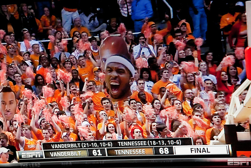 58/365 - March 3, 2012 - Vols SECond <br /> <br /> Today after spending most of the day at a marriage conference at our church, I caught the second half of the Tennessee-Vanderbilt basketball game on the tube in the comfort of my home.  The game was important in that the win got the Vols a number 2 seed in this week's SEC tournament.  Since I couldn't be there in person, I did the next best thing and caught the celebration on TV with my camera.