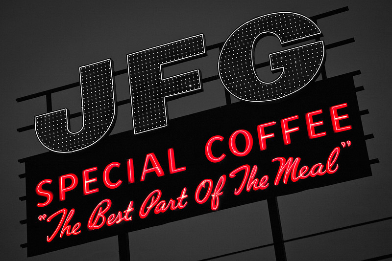 307/365 - November 7, 2012 - Special Coffee <br /> <br /> Tonight on the way home, I detoured through downtown trying to harness some inspiration for the day.  As I crossed the Gay Street Bridge, I noticed the new JFG sign on the hill overlooking the river.  The new/refurbished sign replaced a similar sign that stood in place at this spot for many years.  I used some selective coloring to separate the red neon from the remainder of the sign.