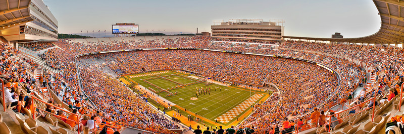 261/365 - September 22, 2012 - Lots of Empty Seats <br /> <br /> Today's shot comes from another UT football game.  Unfortunately the deflation from the Florida loss and a very unexciting opponent left a lot of empty seats in the stadium for the game.  This is another panoramic shot taken during the pregame festivities from my seat in the northeast upper deck.