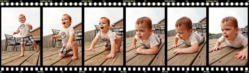 151/365 - June 4, 2012 - Nate in Action <br /> <br /> This evening on the deck, I captured a sequence of shots of Nate going from his Frankenstein walk to a crawl.  In order to add some interest to the sequence, I created a film-looking background to frame the photos.  To all the film gurus out there, I do realize I rotated the orientation of the frames to a portrait format instead of the landscape format 35mm film actually has.