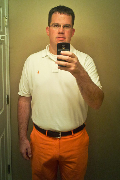 267/365 - September 28, 2012 - Fear the Pants<br /> <br /> In an attempt to channel some good energy toward the Vols in their gauntlet of top 25 games over the course of the next month, I broke down this week and bought some Derek Dooley inspired orange pants.  I was so proud of them I took a self-photo, which I never do, to show off the pants.  Fear the pants!