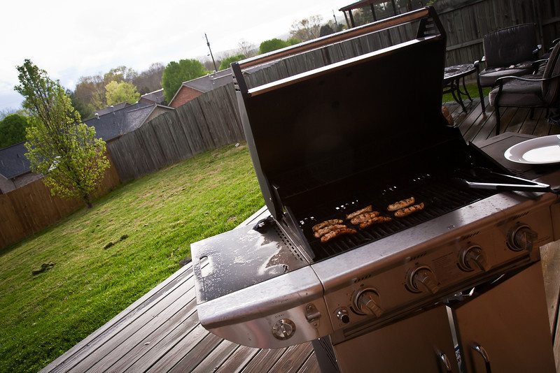79/365 - March 24, 2012 - Grillin' in the Rain <br /> <br /> This evening I got caught out in the rain grilling dinner.  I took this shot as the sun started coming back out during the shower.