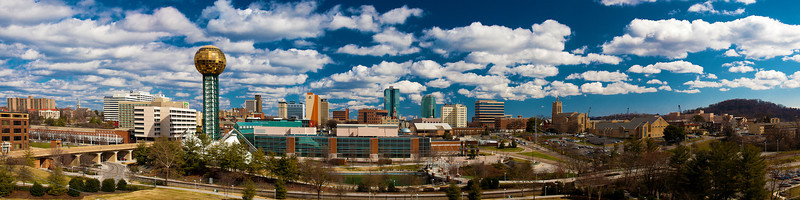 47/365 - February 21, 2012 - Knoxville at Noon <br /> <br /> Today on my lunch break, I made a quick trip to the 11th Street Garage off of Cumberland Avenue to get a shot of the Knoxville skyline from the World's Fair Park perspective.  After setting up on the tripod to help combat the heavy wind gusts, I decided to shoot a multi-shot panoramic.  This shot is made up of 10 photos, which I processed individually in Lightroom prior to running the photo merge in Photoshop.  I considered posting a black and white version, but the colors in this rendition were too good to pass up.  Beautiful day in Knoxville...