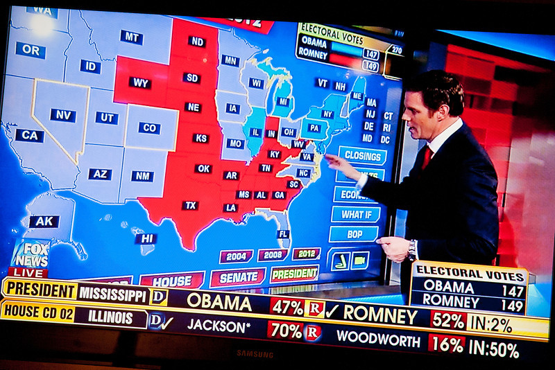 306/365 - November 6, 2012 - Red or Blue <br /> <br /> Today was election day and since my evening revolved around the television checking out the results as they came in, I decided to grab a shot of one of the many instances where a map of the country was displayed showing how the electoral votes were tallying up.  At the time of this photo, it was still neck and neck.  Unfortunately, the color blue ended up ruling the night.