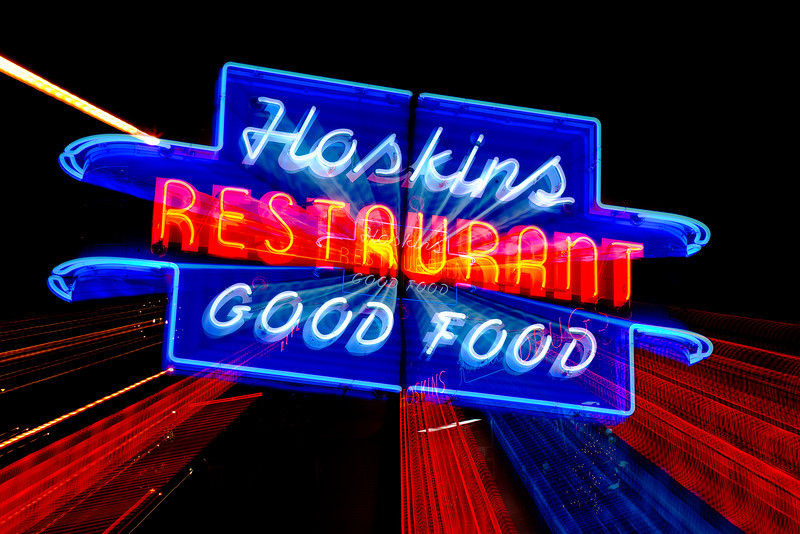 343/365 - December 13, 2012 - Hoskins, Good Food <br /> <br /> Tonight I had to attend a school board meeting in Clinton.  Afterwards, I took advantage of being in Clinton and grabbed some shots of the neon signage at Hoskins Drug Store.  This shot is a 2 second exposure that I zoomed from 105mm to 24mm during the exposure to produce the light streaks.