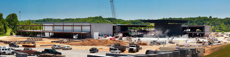 174/365 - June 27, 2012 - Rhea County High Construction <br /> <br /> Today I made another site visit to one of my projects, Rhea County High School. Since this was the first trip I have made since April, I decided to try and mimic the panoramic shot I took on 4/9 in order to show how much progress has been made to date. It's hard to tell from the photo, but a lot of progress has been made. To put it in perspective on how big the school will be in the end, this is only about 3/4 of the school. There is still another 1/4 to be constructed on the front right quadrant.