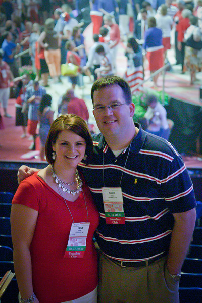 191/365 - July 14, 2012 - Me and Lisa <br /> <br /> It only took half the year, but I finally got a shot of me and Lisa that wasn't trumped by another shot of the day. This shot was taken at the end of Premier Designs National Rally in Fort Worth. Today was patriotic day at the rally, hence why Lisa and I look like an American flag.