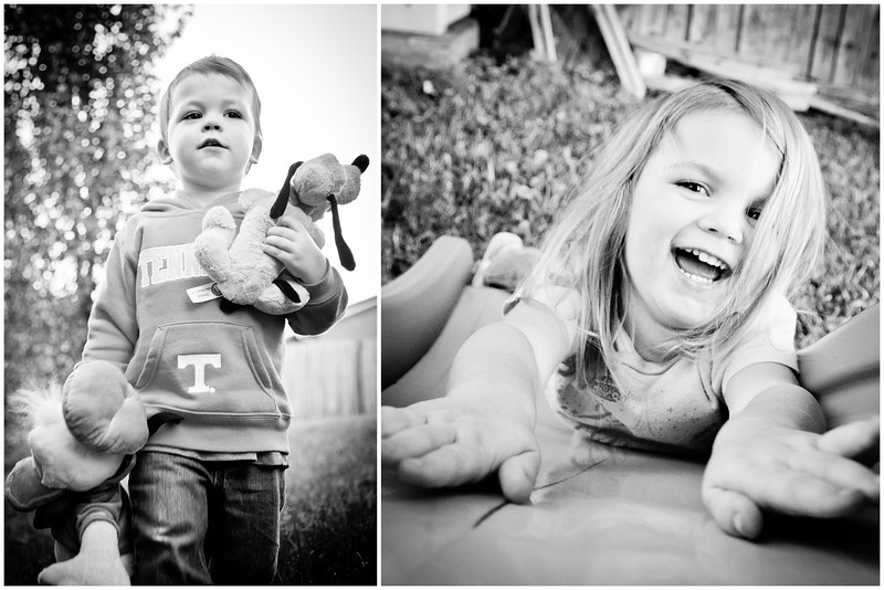 291/365 - October 22, 2012 - Fall Playtime <br /> <br /> On another nice fall evening, I played in the backyard with the kids while Lisa was tending to some Premier work inside.  I got several good shots of each kid and wanted to show one of each, so I compiled a two shot collage.