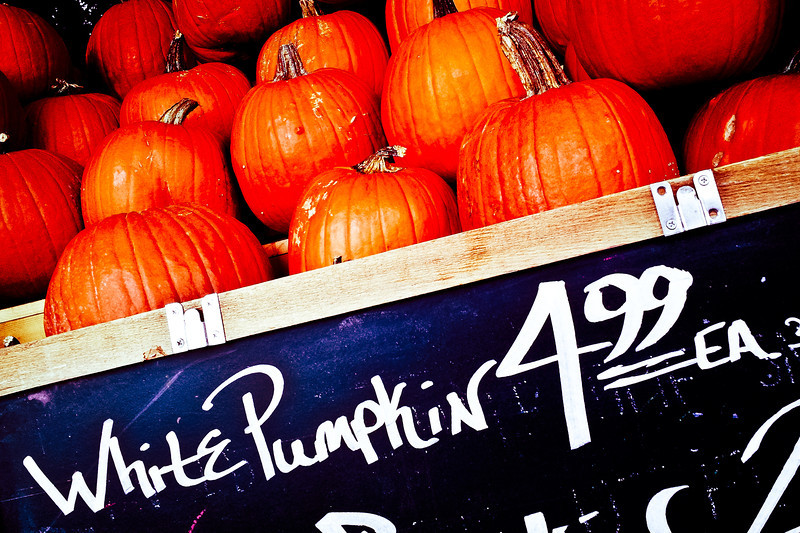 272/365 - October 3, 2012 - Fall Is Here <br /> <br /> Tonight on our way to our church small group, we made a detour to the Fresh Market in Sequoyah Hills to pick up a few snacks to bring along.  On the way out, I grabbed a shot of the pumpkin display to satisfy my daily quota.