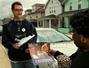 "P13.6 / Street Market Researcher/ to update the image on page 354<br /> Choice 6 of 8<br /> <br /> Aaron Stuart, a local resident and volunteer with the Barack Obama for President Campaign, hands a campaign flyer to resident Shirley Triplin, 70, while canvassing a neighborhood as part of a state wide GOTV - Get Out the Vote - offensive two days before the presidential primary election in the 'Keystone State.' His encounter with Triplin was a random one, but as it turned out her residence was included on a list of addresses he intended to visit. Triplin expressed to him her support for Obama. Stuart, a laid off factory worker, explained to the photographer his motivation for backing Obama: ""He's reinstated my faith in The Constitution--a government of the people, by the people, and for the people."" On this date, Barack Obama was a senator and a candidate for the Democratic nomination for the presidency of the United States. ©Chris Fitzgerald/CandidatePhotos.com (Newscom TagID: cpphotos001869) [Photo via Newscom]"