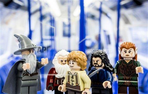 P3.5 Photo to illustrate licensing.<br /> <br /> Choice 3 of 18<br /> <br /> Bilbo Baggins and buddies take the specially rebranded Northern Line to celebrate the release of LEGO The Hobbit, the videogame, this Friday LEGO The Hobbit, the videogame launch, London, Britain - 08 Apr 2014 (Rex Features via AP Images)