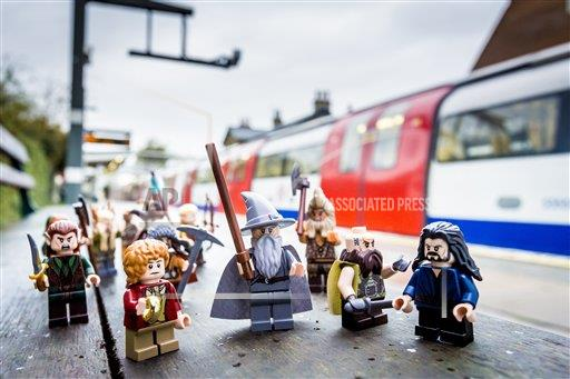 P3.5 Photo to illustrate licensing.<br /> <br /> Choice 4 of 18<br /> <br /> <br /> Bilbo Baggins and buddies take the specially rebranded Northern Line to celebrate the release of LEGO The Hobbit, the videogame, this Friday LEGO The Hobbit, the videogame launch, London, Britain - 08 Apr 2014 (Rex Features via AP Images)