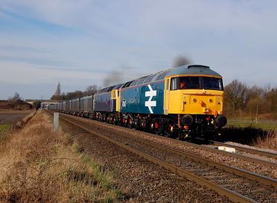47847 47843 4d93 0941 Doncaster Decoy to Drax blasting pass High Eggborough 11 march.