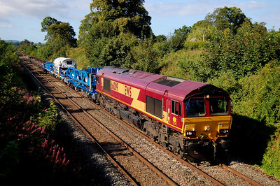 66009 6n01 0730 Yeovil Pen Mill to Westbury passing Styles Hill 3 aug