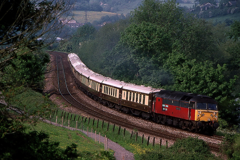 47774 on vsoe return from bath to victoria on curves from bathampton junction 19 may1999.seen this shot in a magazine didnt even know u could do this but am on canal towpath