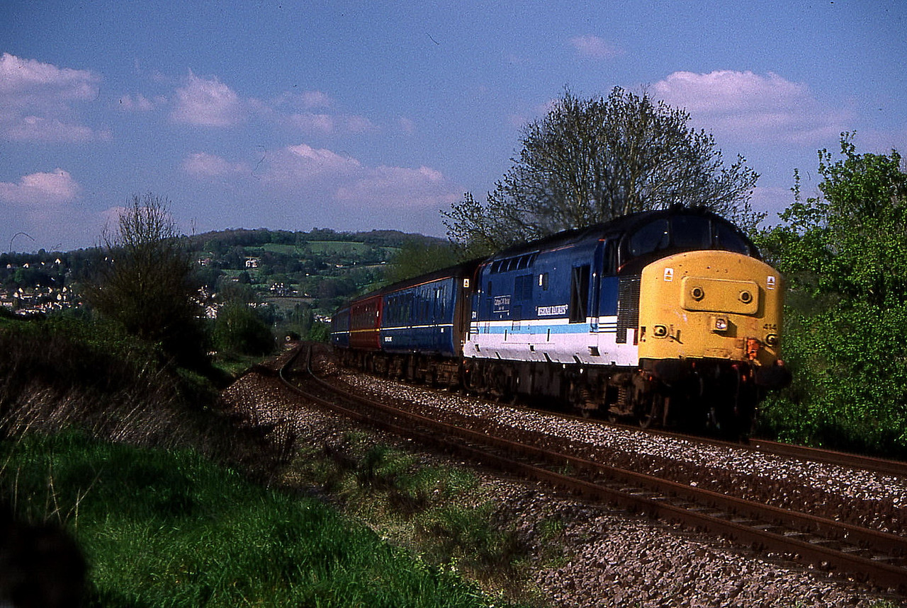 37414 just after passing bathampton junc on bristol to weymouth 28 april 1999