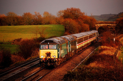 57315 57316 66844 DOR on 5v66 1229 eastleigh to bishops lydeard passing fairwood 7 dec