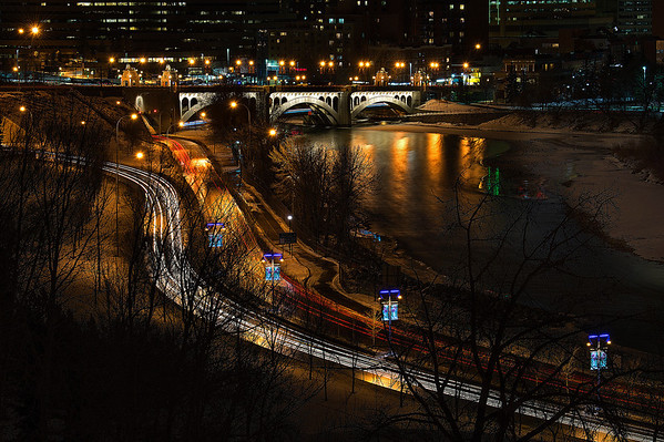 View along Memorial Drive and Bow River, taken from Crescent Road.