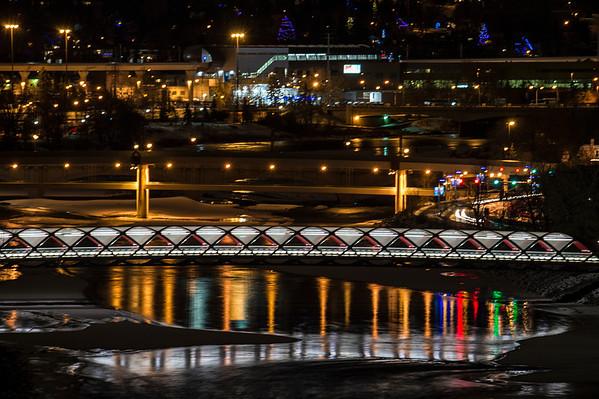 Front to Back: Peace Bridge, LRT River Bridge, 10th Street Bridge, New West LRT Station