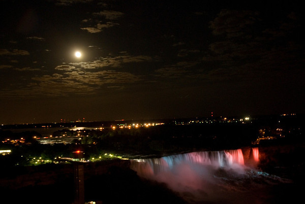 Niagara Falls -  Full Moon over American Side.  Buffalo in background.