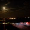 Niagara Falls -  Full Moon over American Side.  Buffalo in background.