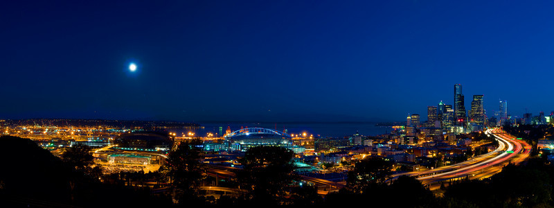 Seattle City Scape on a Full Moon