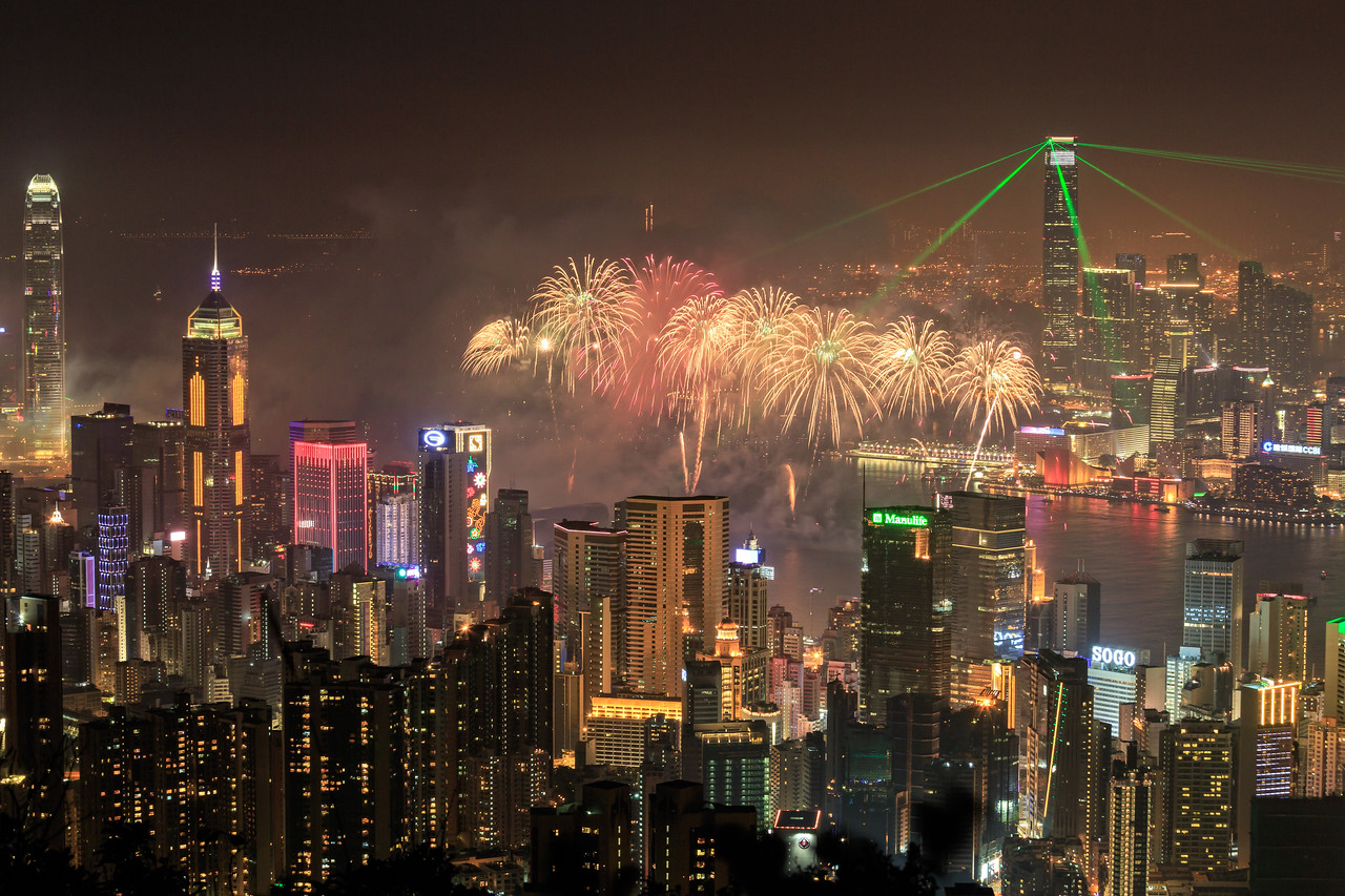 2014 Chinese New Year Fireworks in Hong Kong Harbour
