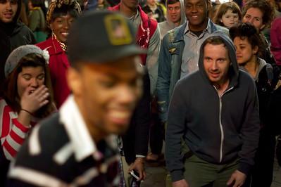 Street dancers trash talking during a dance battle at NYC's Union Square ref: e4081b7e-1914-4125-bc37-8d49129da40d