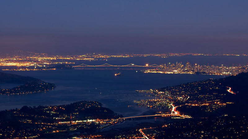 Night view of the San Francisco Bay from Mount Tamalpais