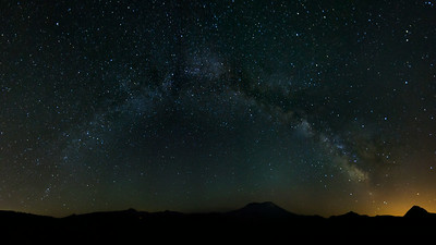 Milky Way Arch Over Mt. St. Helens (16 Photo Panorama)