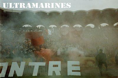 Ultramarine smoke causing nigritude to envelope the stadium