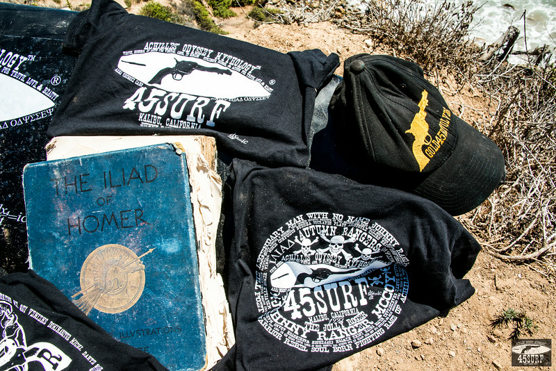 Nikon D800E Photos of 45surf Achilles Odyssey Surfboard,  Hats, Hoodies, T-shirts, and Shirts on a Malibu Bluff above La Piedra  Beach!  Shot with the epic Nikon 28-300mm f/3.5-5.6G ED VR AF-S Nikkor  Zoom Lens for Nikon Digital SLR on the D800E!  With the skull of Johnny  Ranger McCoy!