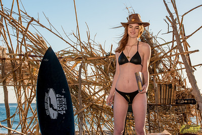 Nikon D800E Photos of Pretty Redhead Swimsuit Bikini Model Goddess with Pretty Blue Eyes!  Wearing a Leather Buffalo Nickel Cowboy Hat!