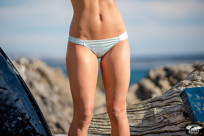 Nikon D800E Photos of Pretty Blonde Swimsuit Bikini Model Gold 45 Revolver Beach Goddess! Sharp 70-200mm VR2 F2.8 Nikkor Lens!