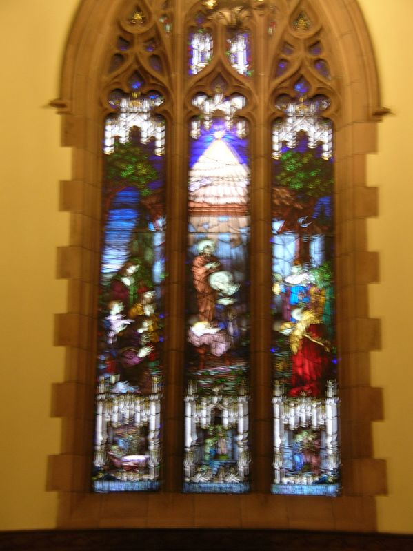 Side stained glass window.  Hand held at too slow a speed
