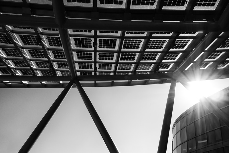 Solar array embedded in the awning at the Salt Lake City Public Safety building.